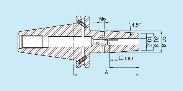 Haimer 40.300.14 Weldon Tool Holder Short 14 mm Diameter Version SK 40