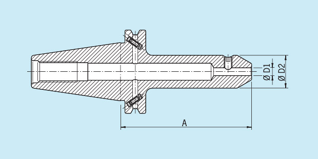 8 mm Diameter Version MAS//BT 40 Haimer 40.500.08 Weldon Tool Holder Short