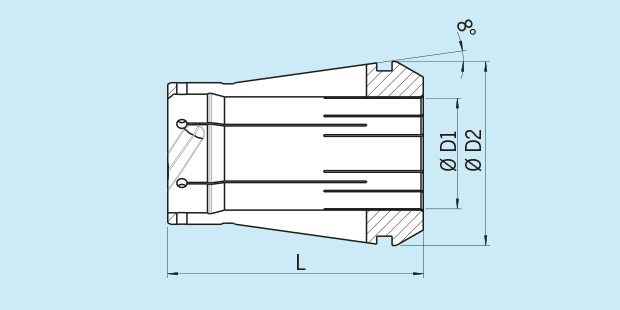 power collet with safe-lock technical drawing